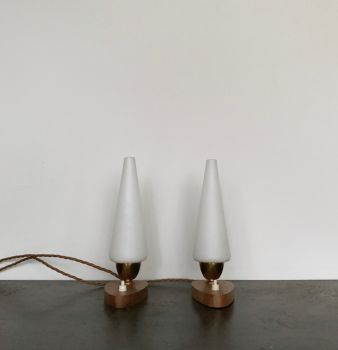 Pair Of Mid Century French Table Lamps With Teak Base And Matt White Conical Shades