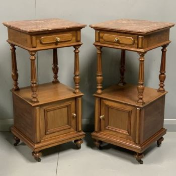 Pair Of French Walnut And Marble Top Bedside Cabinets