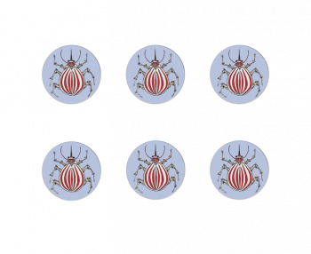 Ophelia Coasters Set of 6 (Red & White Beatle) Bell Hutley