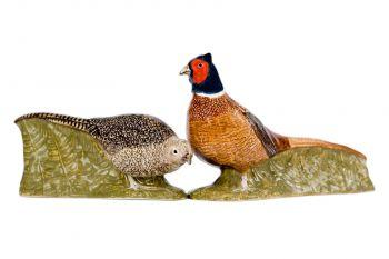 Pheasant Salt and Pepper set Quail Ceramics
