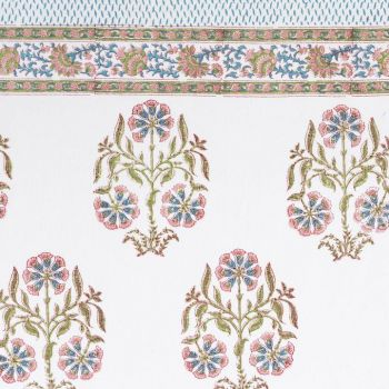 pink and blue floral tablecloth block print mews furnishings
