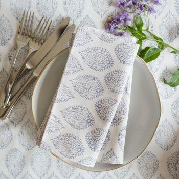 Sarah K grey leaf napkin block print