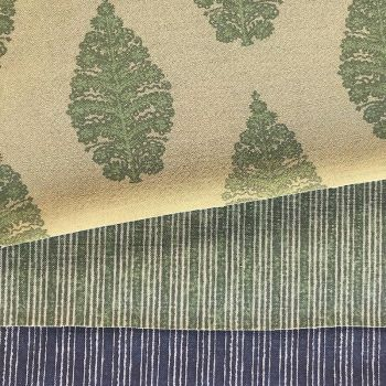 Laibik Large Print Fabric in Field Green & Natural Linen