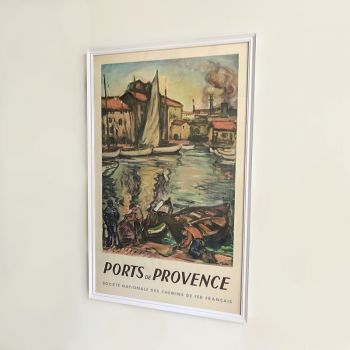 1940s Vintage French Railway Framed Poster Advert for Ports de Provence