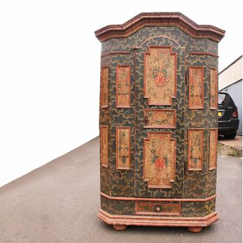 Rare Original Antique Painted Marriage Cupboard Cabinet