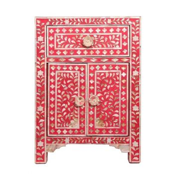 Raspberry Mother of Pearl bedside table cupboard bedroom