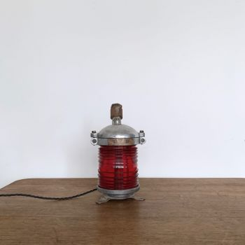 Red Glass Bulk Head Table Lamp