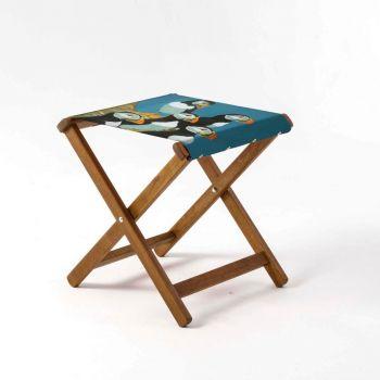Outdoor Teak Stool with Robert Gillmor 'Five Puffins' Design