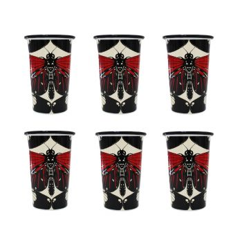 The Roma Butterfly Set of 6 Red, Cream and Black Handmade Tumblers