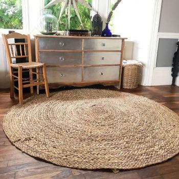 Round Rush Mat, Woven Rug, Runner, Vintage Rugs