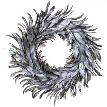 Silver Feather Christmas Wreath