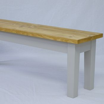 Rustic Farmhouse Bench with Turned Legs