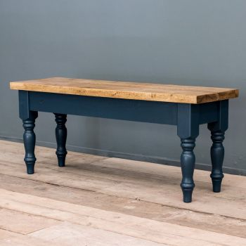 Rustic Farmhouse Oak Bench with Turned Legs