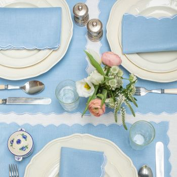 blue scallop edged linen placemat Sarah K
