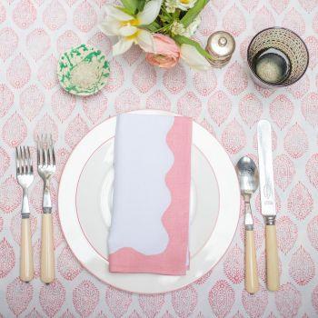 pink and white block print napkin Sarah K