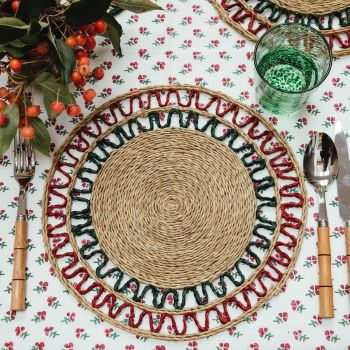 red and green Lutindzi grass placemat Sarah K