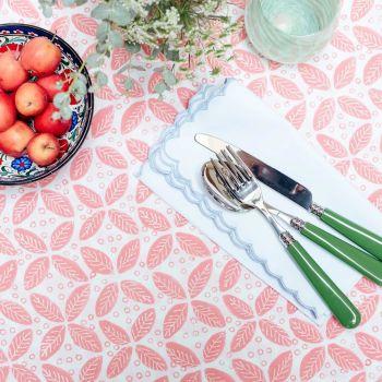 pink berry block print cotton napkin Sarah K