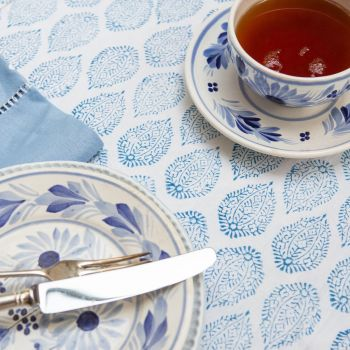 blue and white cotton block print tablecloth Sarah K