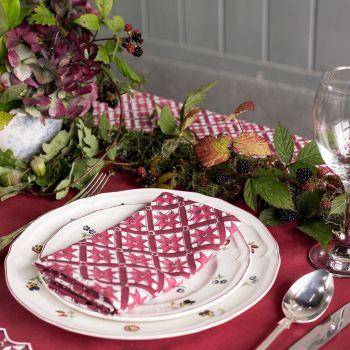 red pink burgundy block printed napkin sarah k
