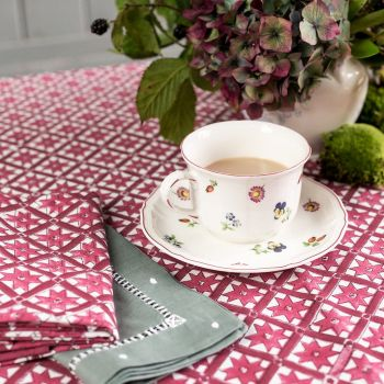 pink and red hand block printed star tablecloth, sarah k