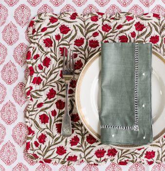 Sarah K placemat block print Christmas
