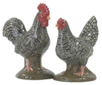 Scots Grey Chicken Salt & Pepper Set Quail Ceramcis