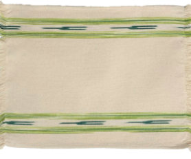 Fabric Placemat Cream with Green Ikat Stripe