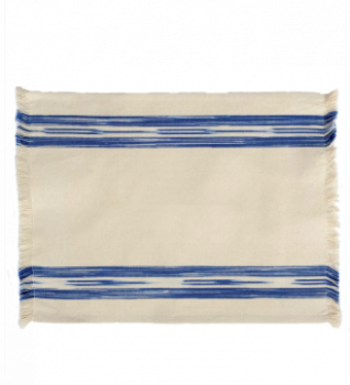 Fabric Placemat Cream with Blue Ikat Stripe