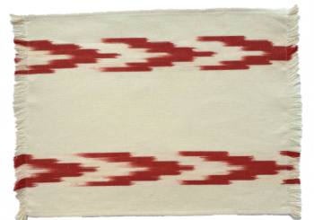 Fabric Placemat Cream with Terracotta Chevron Stripes