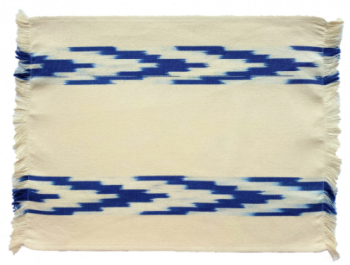 Fabric Placemat Cream with Blue Chevron Stripes