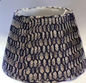 Asana Cotton Indian Style Lampshade Blockprint Navy & White