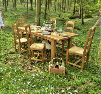solid oak garden dining table