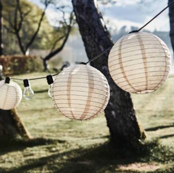 String Of Twenty Bulbs And Lanterns outdoor lighting