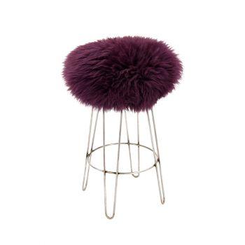 Sheepskin Stool Metal Hairpin Industrial Steel Legs Seat Aubergine Purple