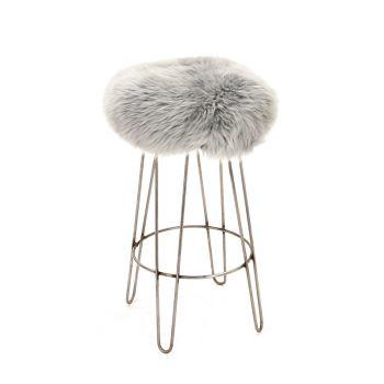 Sheepskin Stool Metal Hairpin Industrial Steel Legs Seat Silver