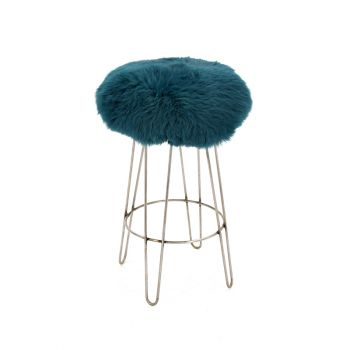 Sheepskin Stool Metal Hairpin Industrial Steel Legs Seat Teal Blue Green