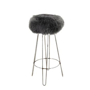 Sheepskin Stool Metal Hairpin Industrial Steel Legs Seat Slate Grey