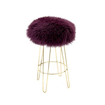Sheepskin Stool Metal Hairpin Old Gold Legs Seat Aubergine Purple