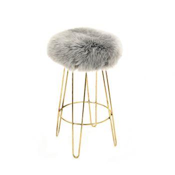 Sheepskin Stool Metal Hairpin Old Gold Legs Seat Silver