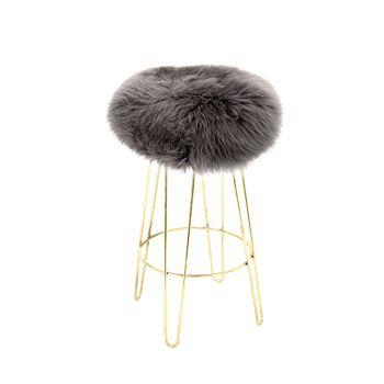 Sheepskin Stool Metal Hairpin Old Gold Legs Seat Slate Grey