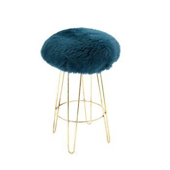 Sheepskin Stool Metal Hairpin Old Gold Legs Seat Teal Green Blue