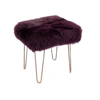 Sheepskin Stool Metal Hairpin Antique Copper Legs Seat Aubergine Purple
