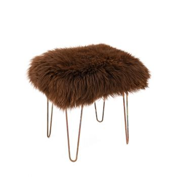 Sheepskin Stool Metal Hairpin Antique Copper Legs Seat Chocolate Brown