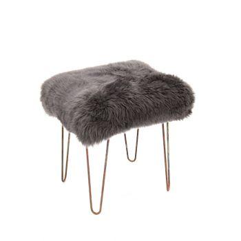 Sheepskin Stool Metal Hairpin Antique Copper Legs Seat Slate Grey
