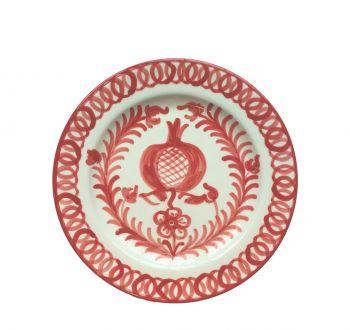Spanish Ceramic Dinner Plate with Burnt Sienna Bird Design