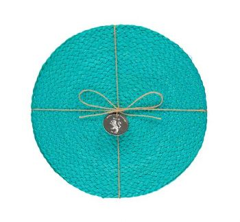 Silky Jute Place Mats In Medici Blue