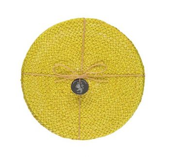 Silky Jute Place Mats In Sulphur Yellow