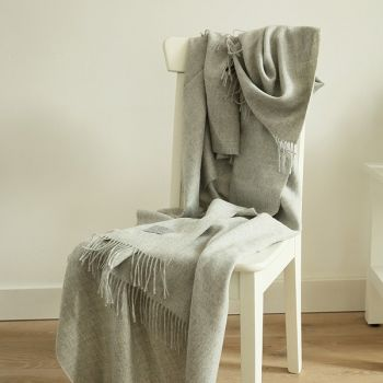 Silver Baby Alpaca Throw