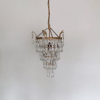 FRENCH GLASS CHANDELIER WITH FLORAL GOLD DETAILS