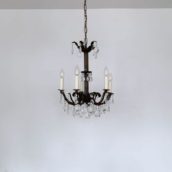 Small French Brass Multi Arm Chandelier With Harlequin Pear Drops